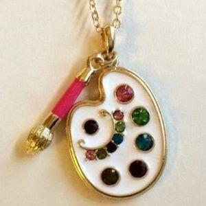 "Gold Art Artist Palette Brush Necklace 18"" Pendant"